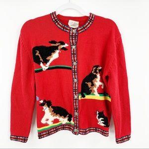 Susan Bristol Red Nordic Dog Cardigan Sweater M